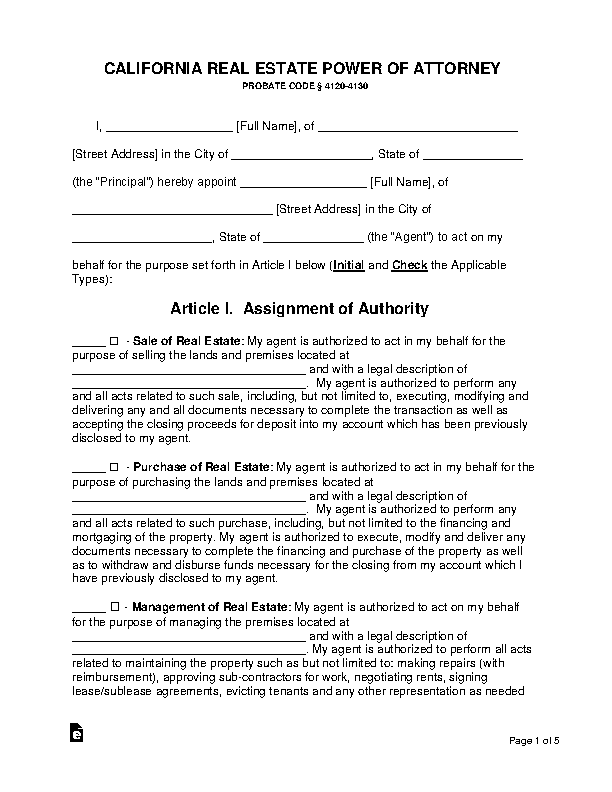 California Real Estate Power Of Attorney Form