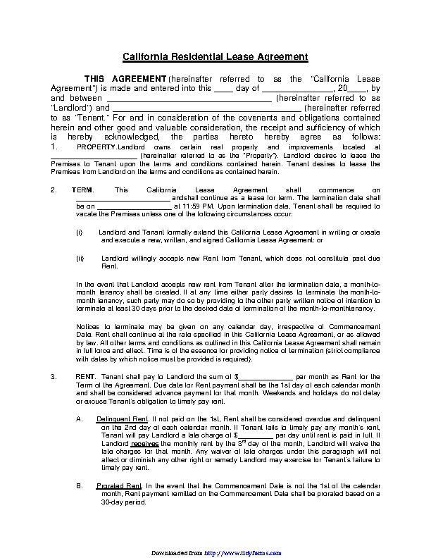 California Residential Lease Agreement 1