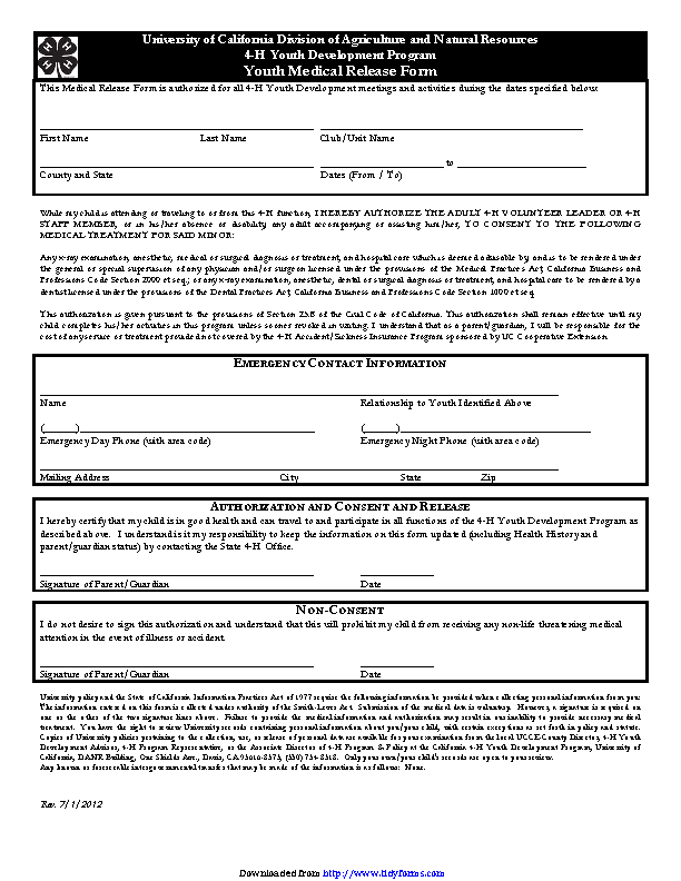 California Youth Medical Release Form
