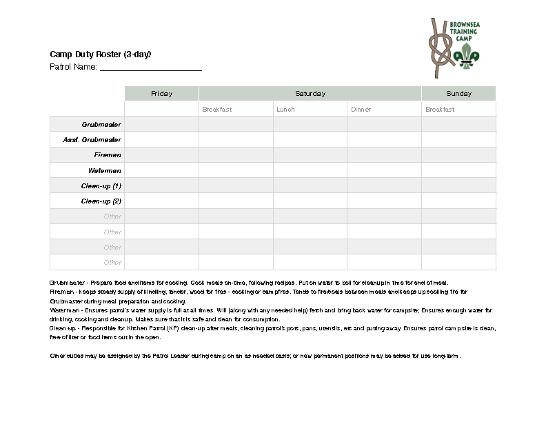 Camp Duty Roster Template