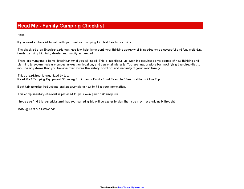 Camping Checklist Excel