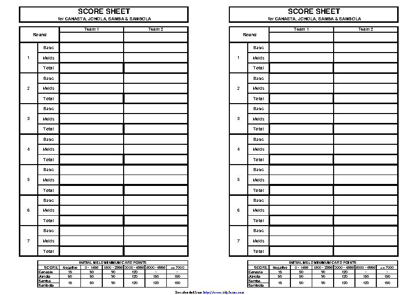 Canasta Score Sheet 2