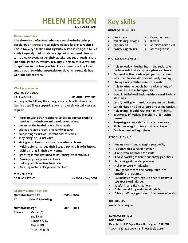 Care Assistant Cv Template