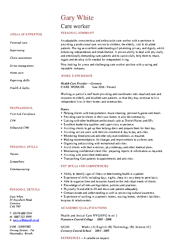 Care Worker Cv Template