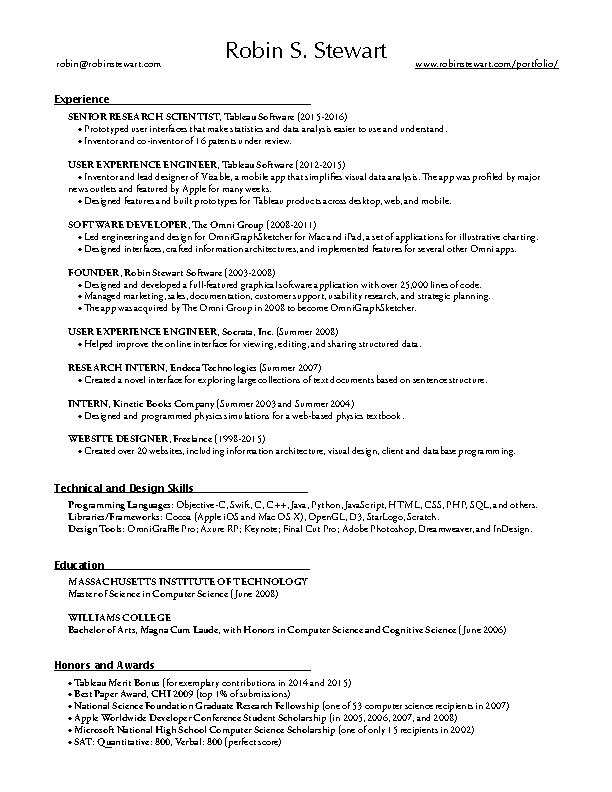Career Summary One Page Template Example
