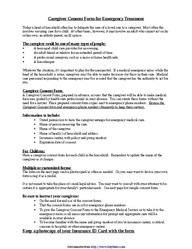 Caregiver Consent Form For Medical Treatment