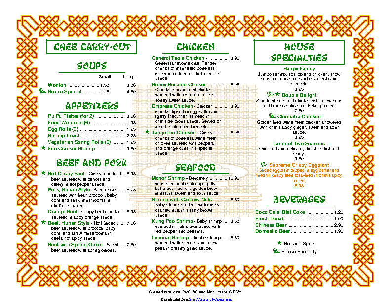 Carryout And Takeout Menu 1