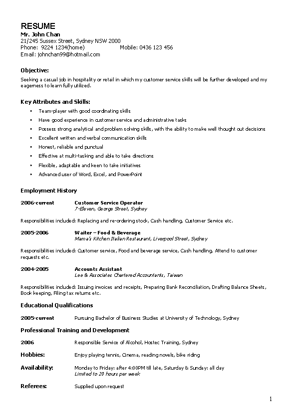 Casual Work Resume