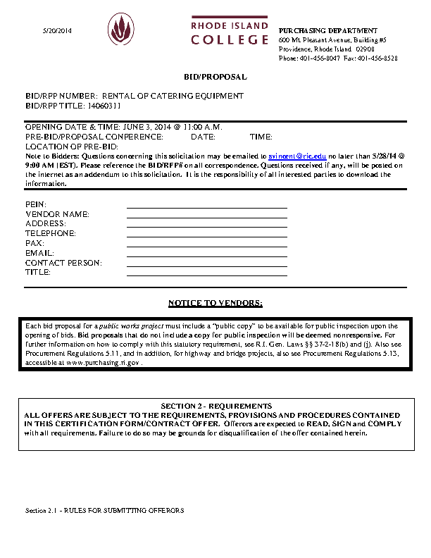 Catering Bid Proposal Template