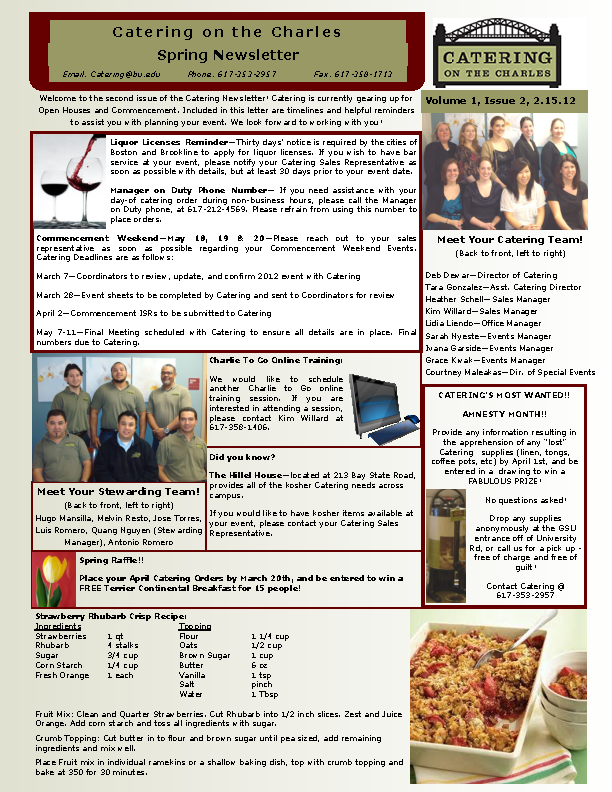 Catering On The Charles Spring Newsletter
