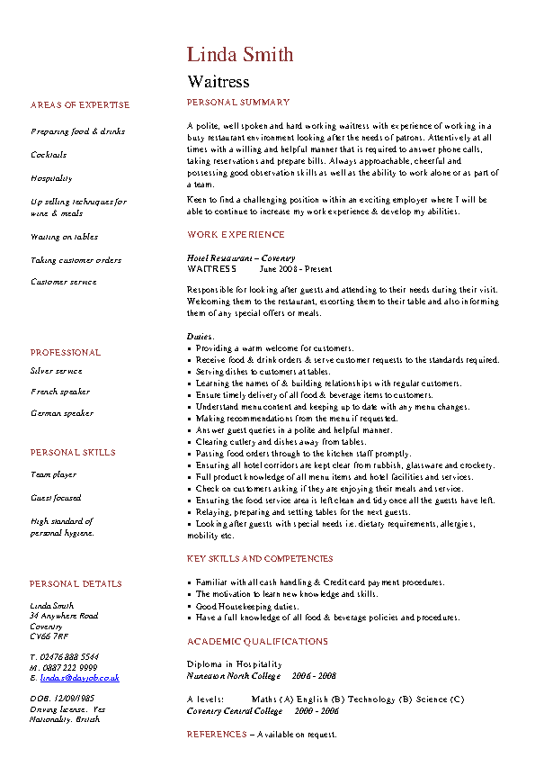 Catering Server Resume