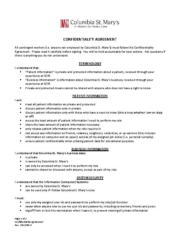 Celebrity Confidentiality Agreement Template