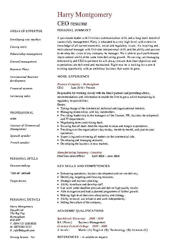 Ceo Resume Examples