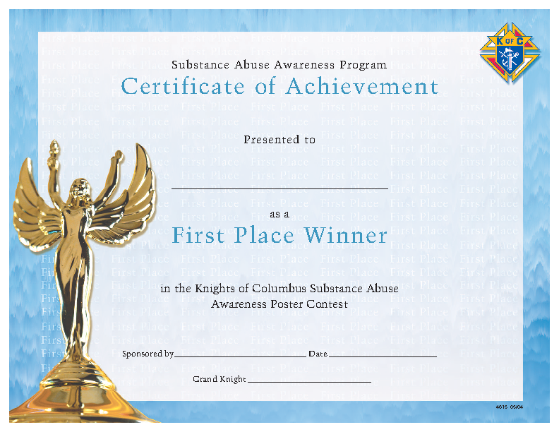 Certificate Of Achievement First Place Winner