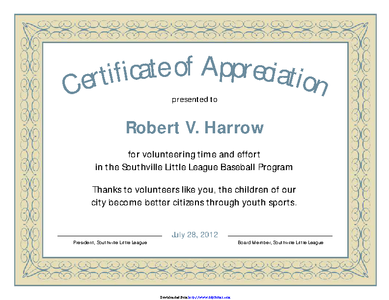 Certificate Of Appreciation Template 3
