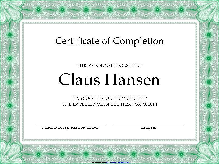 Certificate Of Completion Template 1