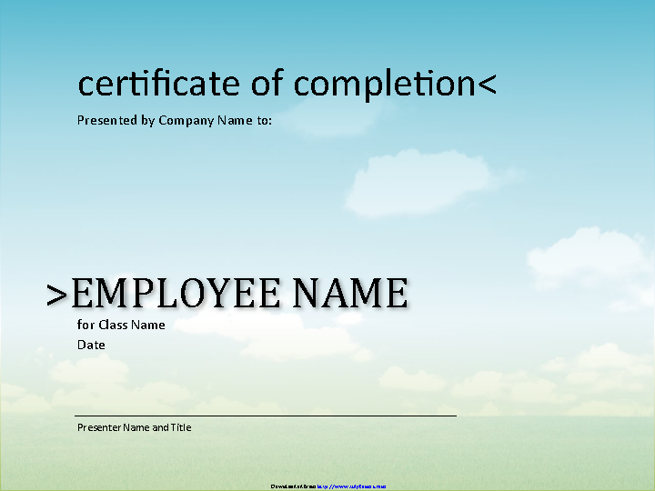 Certificate Of Completion Template 2