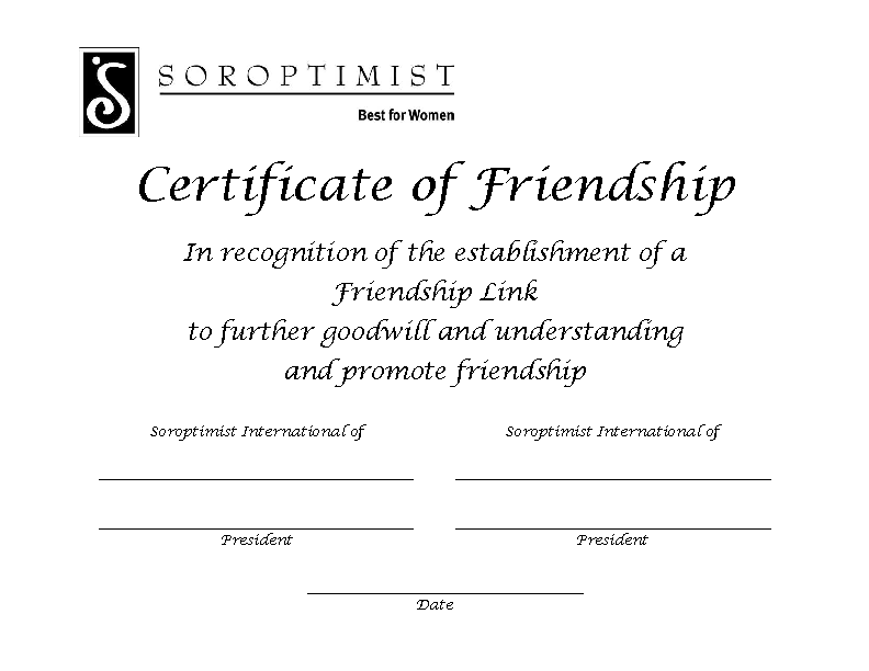 Certificate Of Friendship
