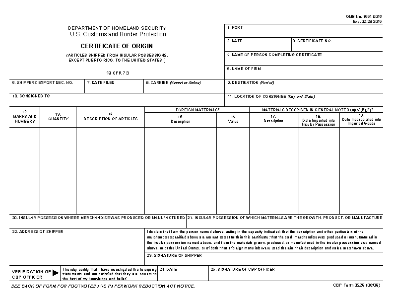Certificate Of Origin Template For Cargo Logistics