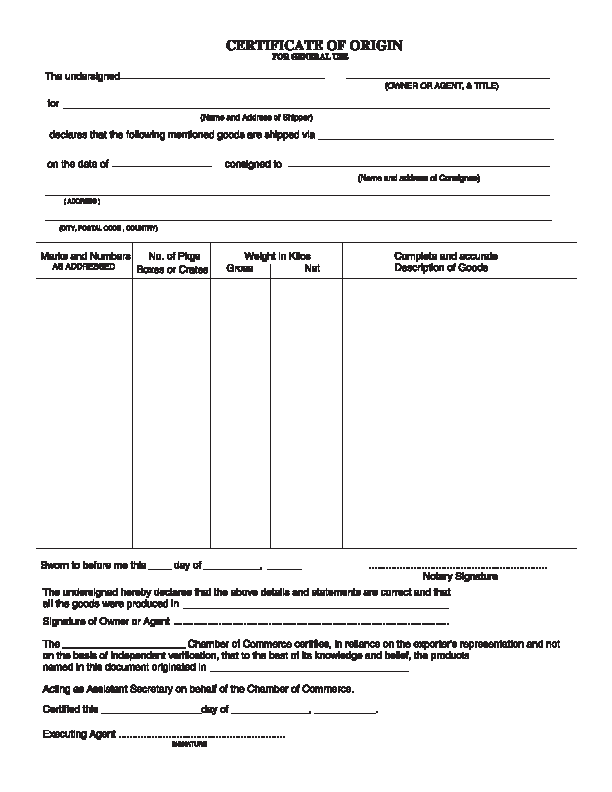 Certificate Of Origin Template For General Use