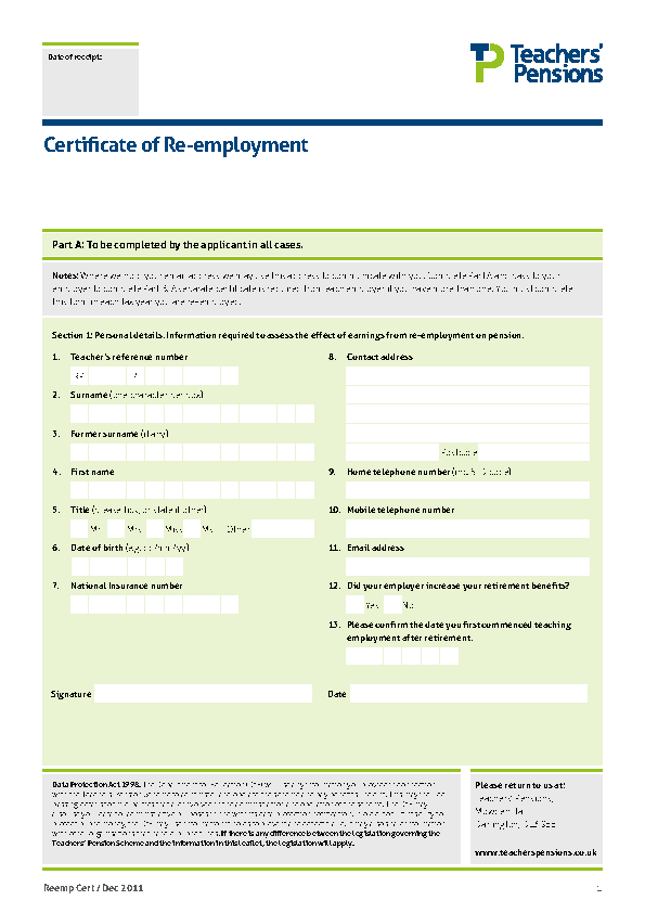 Certificate Of Re Employment Template