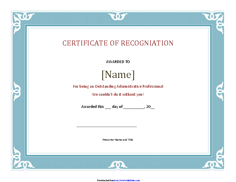 Certificate Of Recognition Template 2