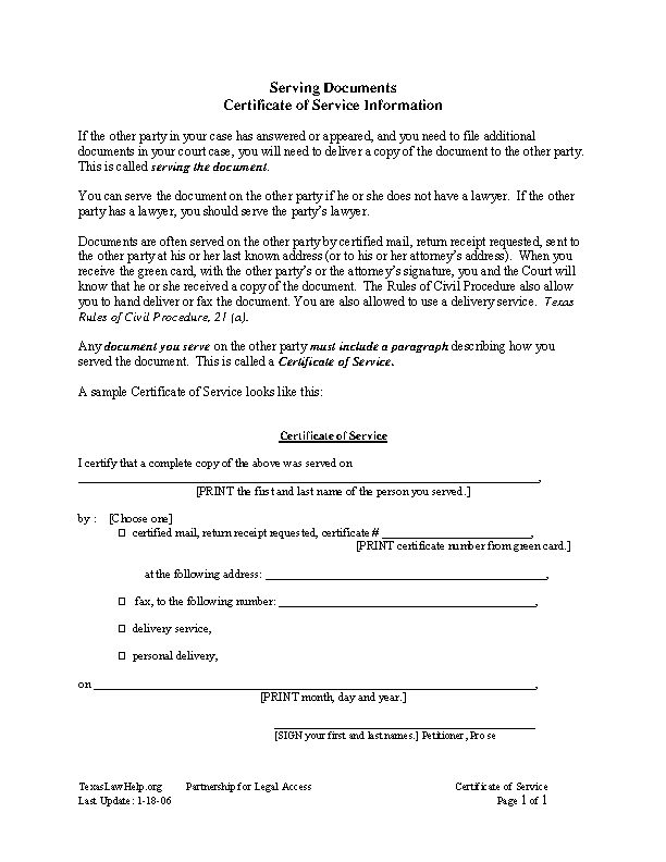 Certificate Of Service Information Template