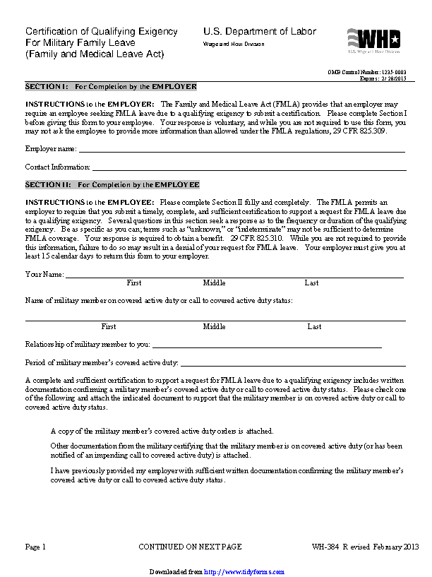 Certification Of Qualifying Exigency For Military Family Leave