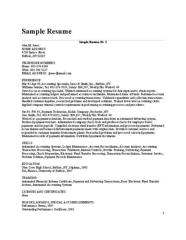 Certified Bookkeeper Resume
