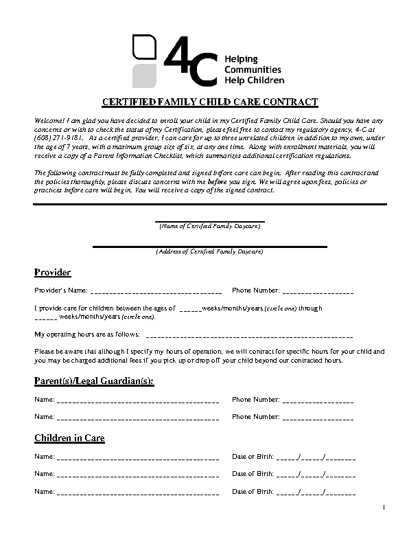 Certified Family Child Care Contract