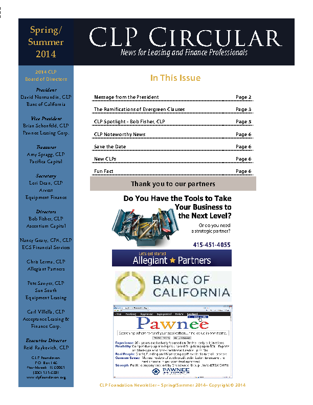 Certified Lease And Finance Professionals Newsletter