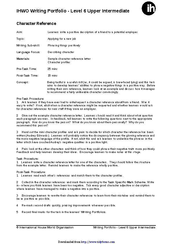 Character Reference Letter Template 2