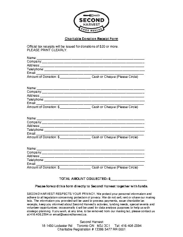 Charitable Donation Receipt Form
