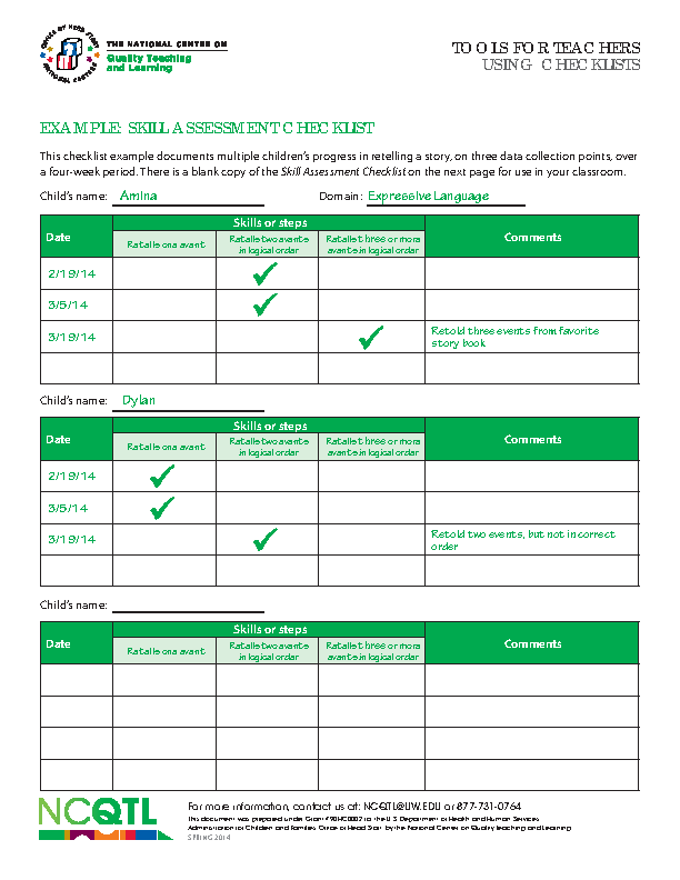 Checklist Teacher Tools Skill