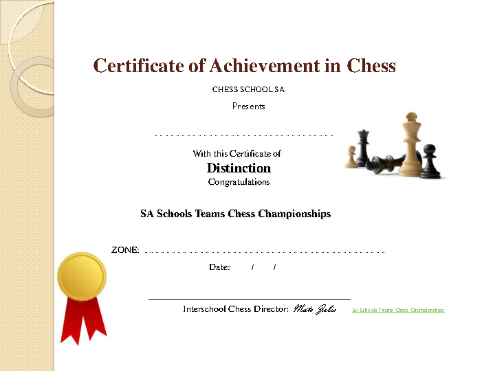 Chess Sportsmanship Certificate