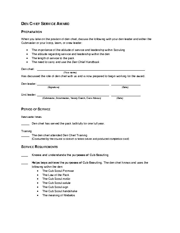 Chief Service Award Template