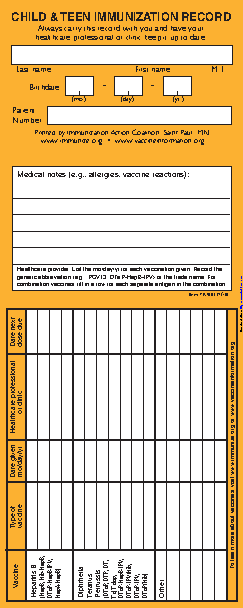 Child And Teen Immunization Record Card