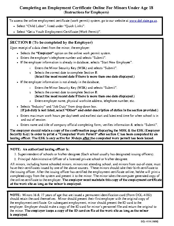 Child Labor Work Permit Certificate