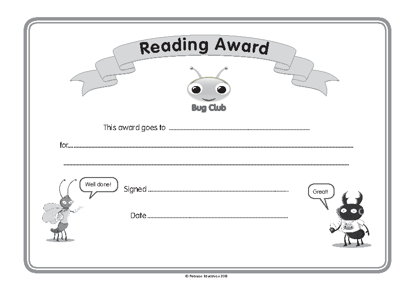 Childrens Reading Certificate Template