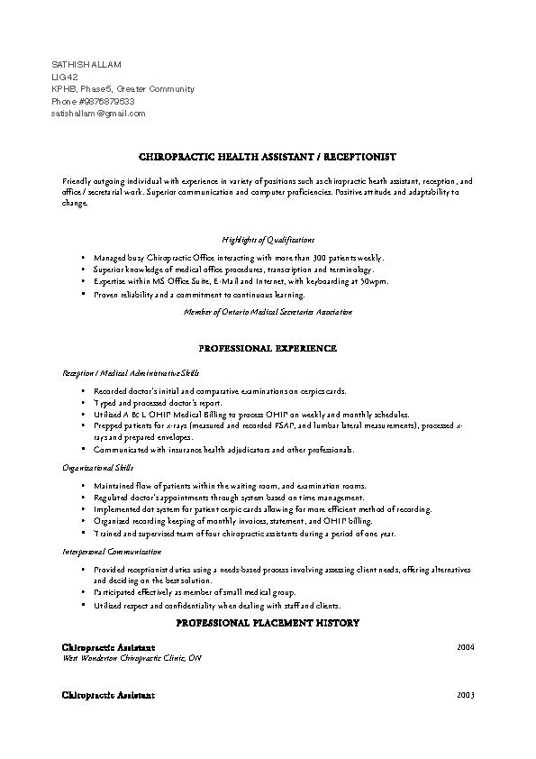 Chiropractic Associate Resume