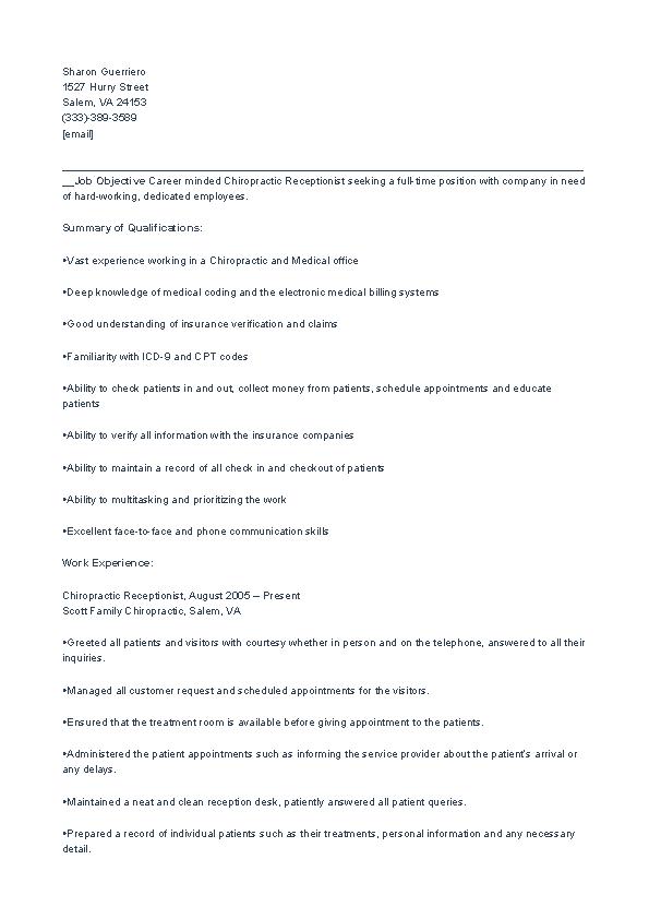 Chiropractic Receptionist Resume