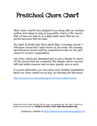 Chore Charts Templates PDF