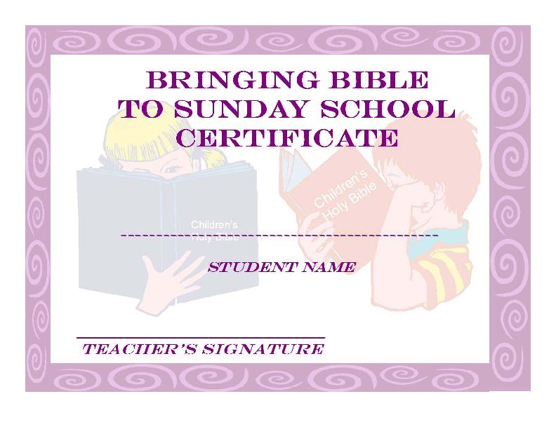 Christian Sunday School Certificate