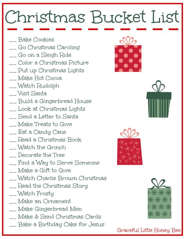 Christmas Bucket List Template