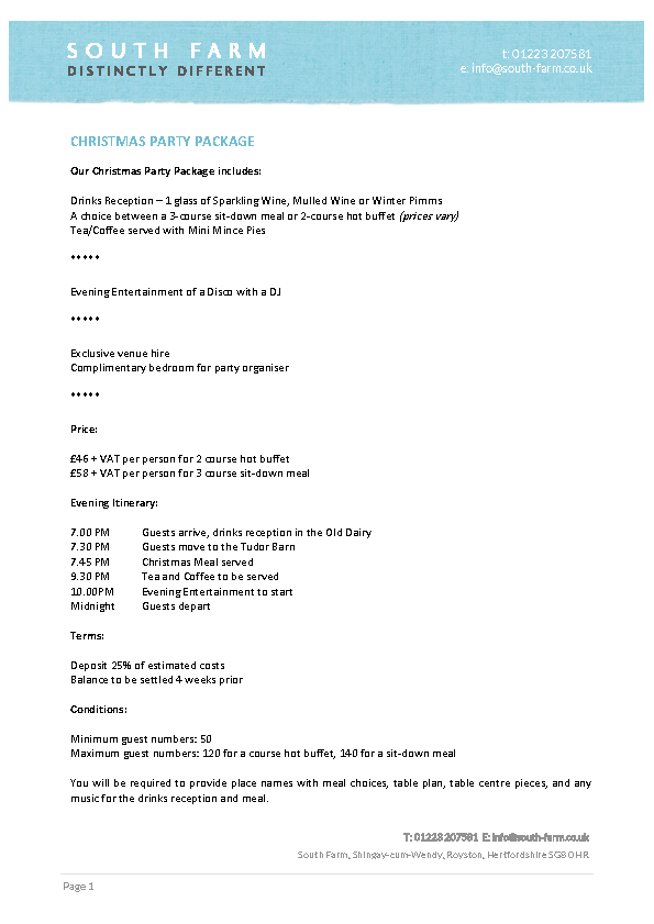 Christmas Party Itinerary Template