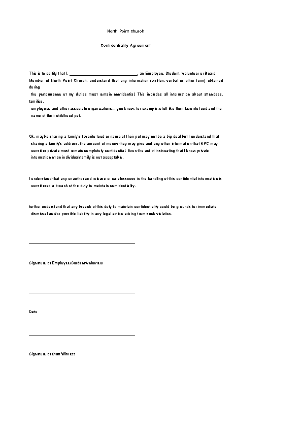 Church Confidentiality Agreement