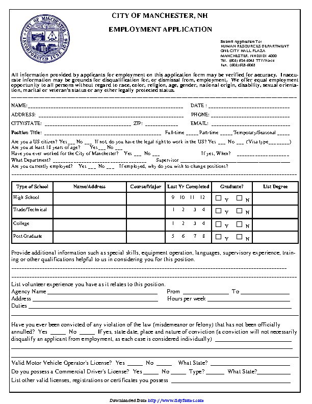 City Of Manchester Nh Employment Application
