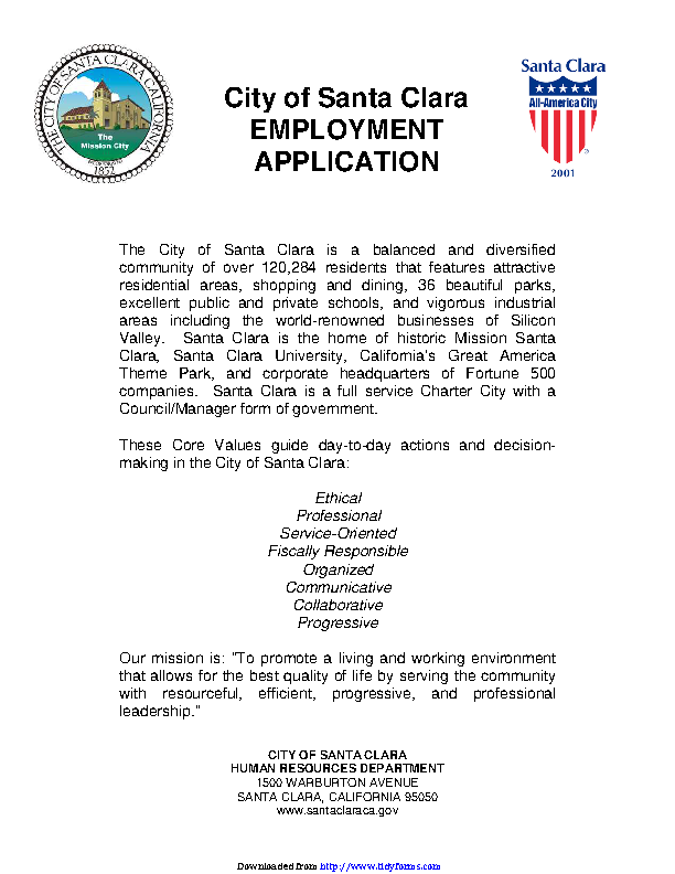 City Of Santa Clara Employment Application