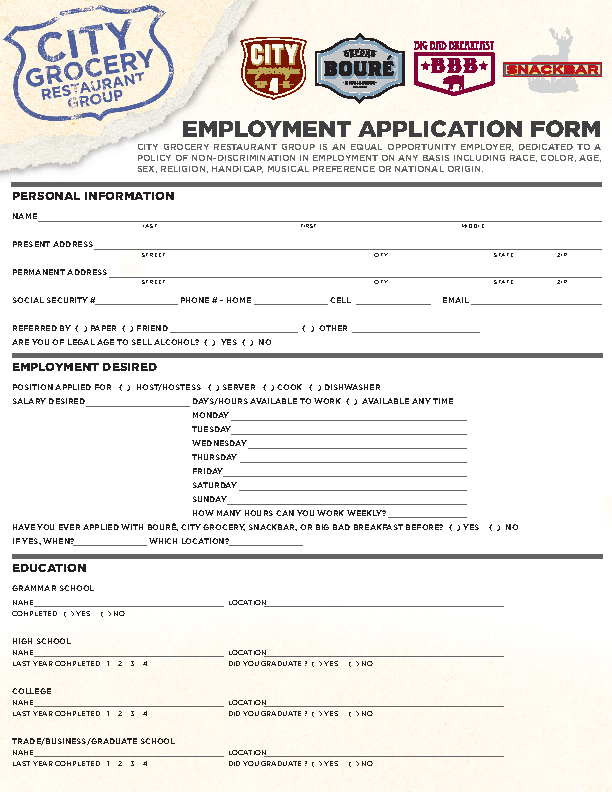 City Restaurant Group Job Application Template Pdf Format Download