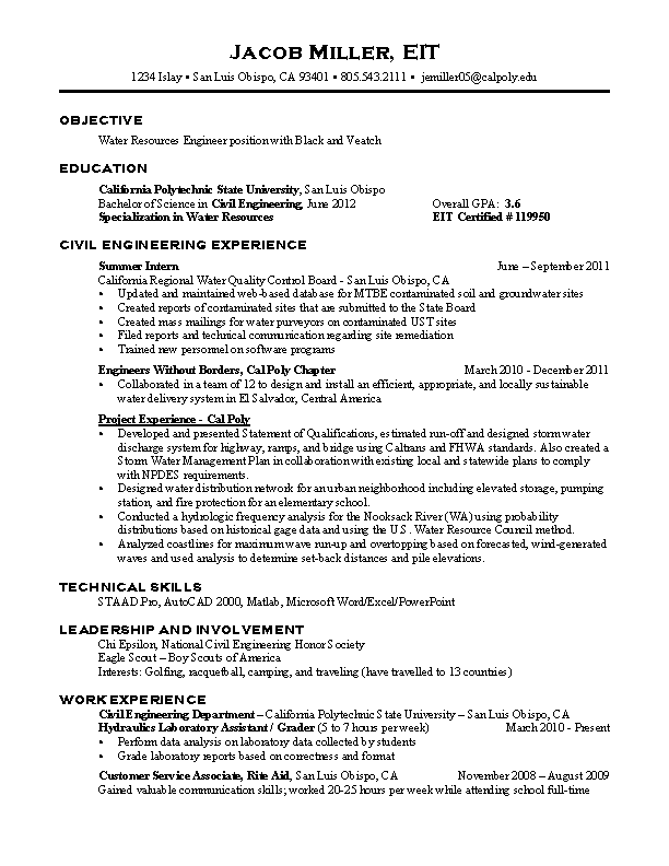 Civil Engineering Career Resume